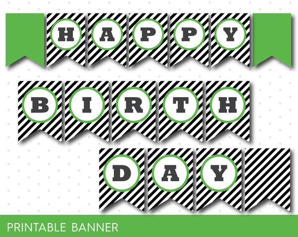 Printable green banner with black stripes, Green birthday banner, PB-242