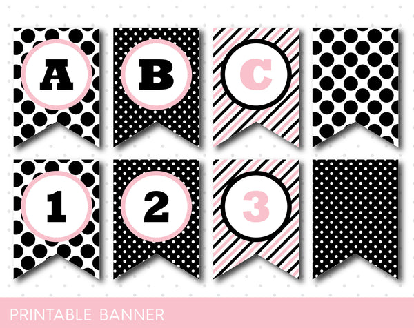 Pink and black birthday banner with big and small polka dots, Striped birthday banner, PB-25