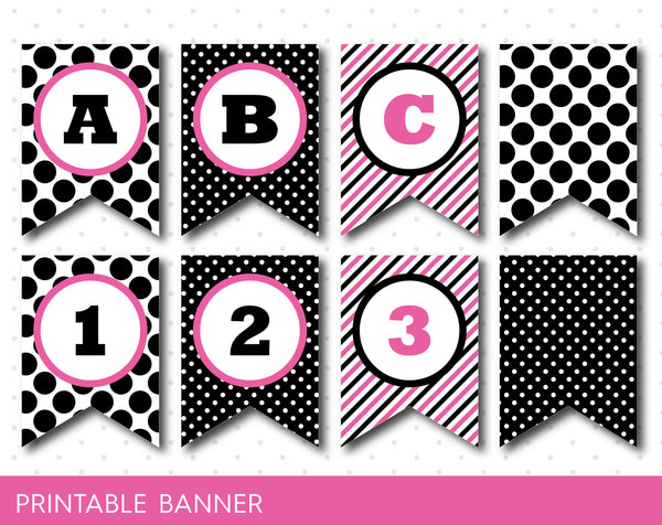 Hot pink and black party banner with letters and numbers, PB-27