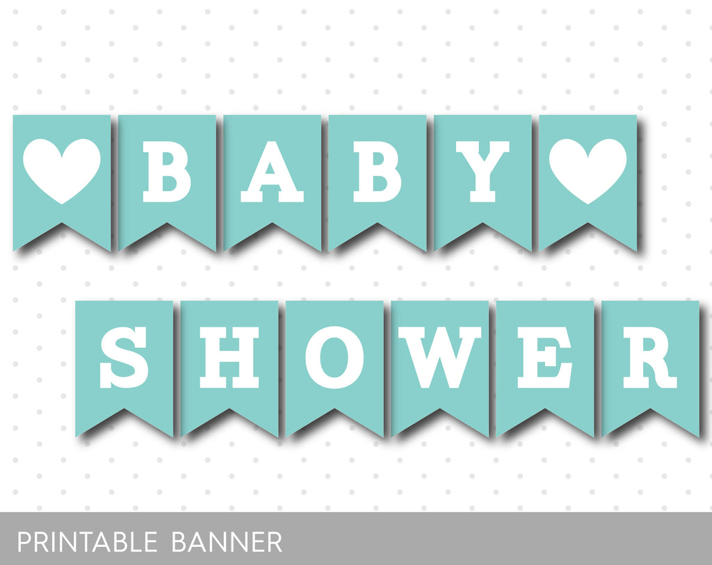 Light turquoise printable baby shower banner, PB-284