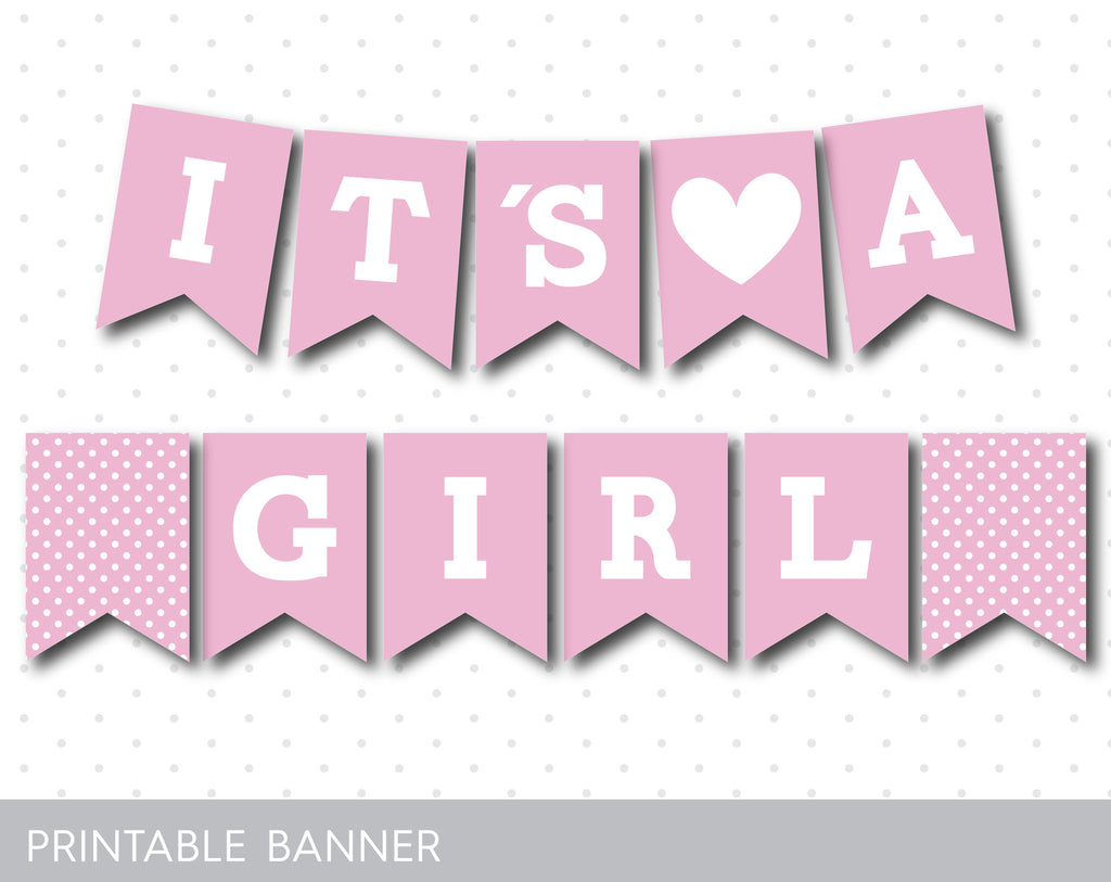It´s a girl printable baby shower banner, Pink baby shower banner ...