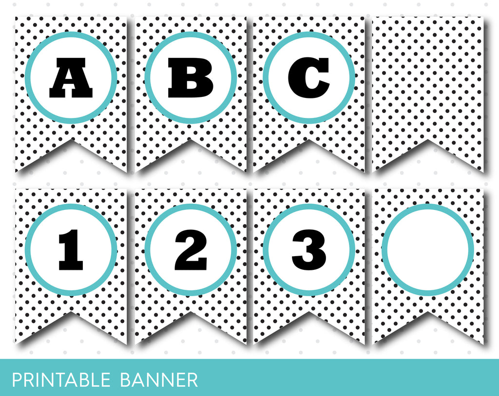 Turquoise and black polka dot printable bunting DIY banner with full alphabet, PB-33