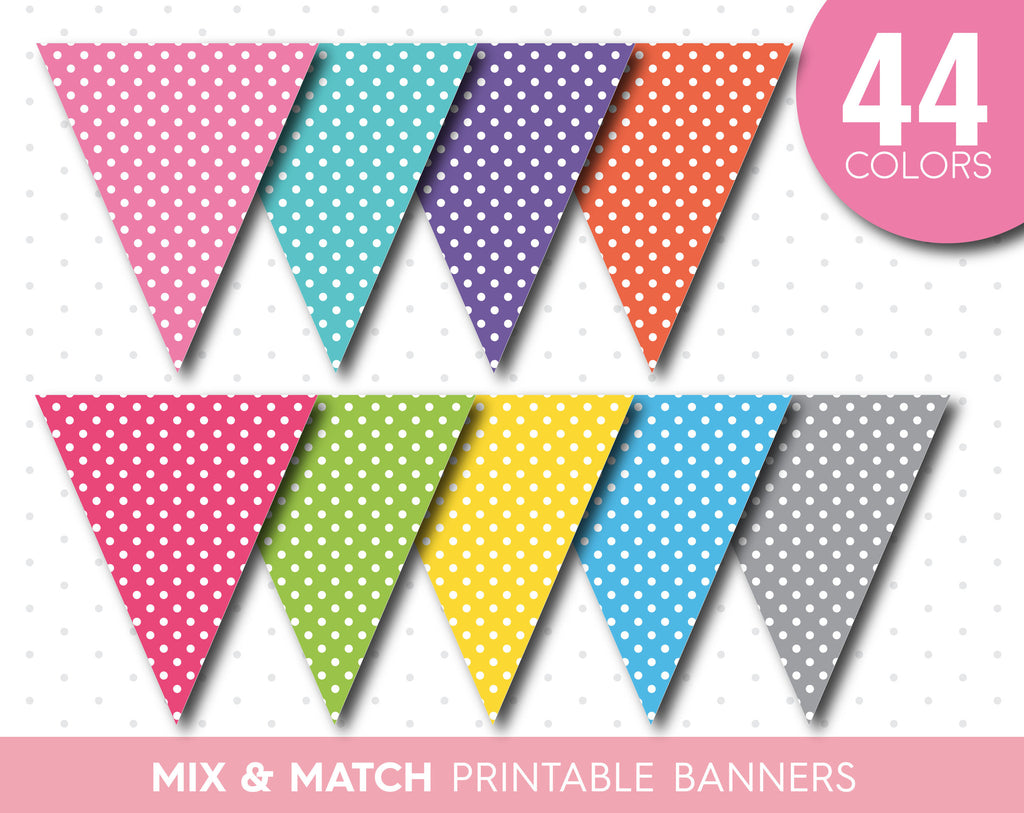 rainbow printable bunting diy banner in rainbow colors with polka dots js digital paper. Black Bedroom Furniture Sets. Home Design Ideas