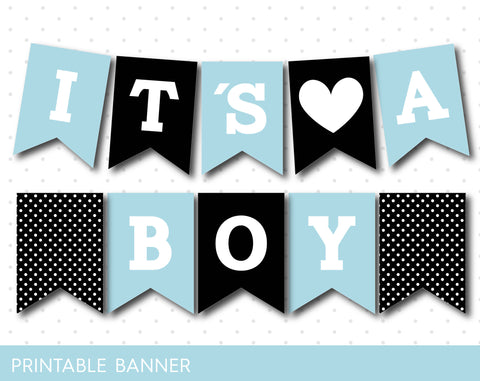 Black and baby blue printable baby shower banner, PB-351