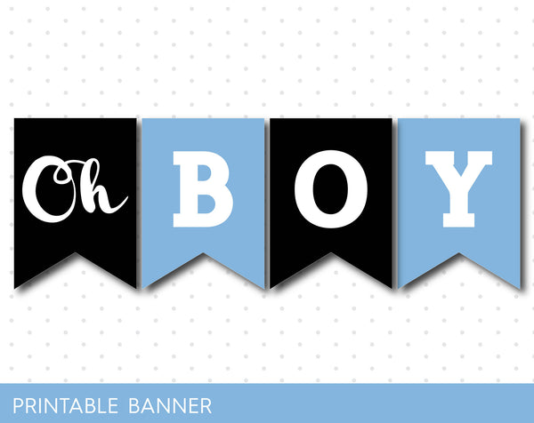 Ice blue and black printable baby shower banner banner, PB-353