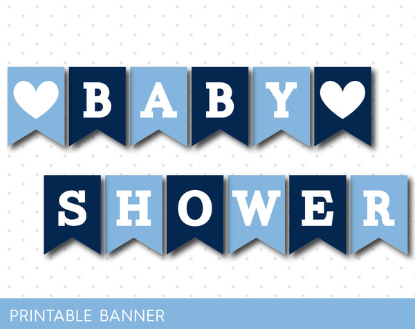 Ice blue and navy printable baby shower banner banner, PB-354