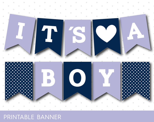 Lavender and navy blue printable baby shower banner banner, PB-356