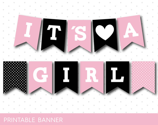 Light pink and black printable baby shower banner banner, PB-359