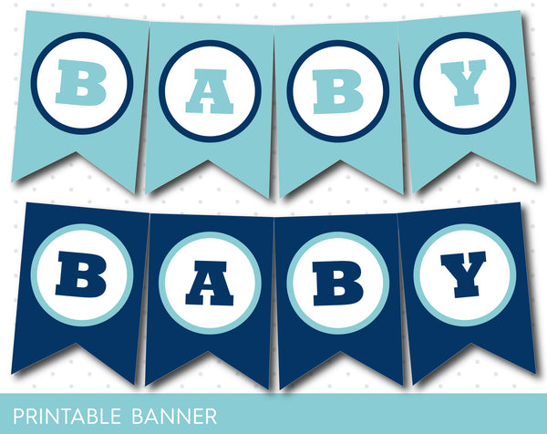 Printable birthday banner in blue colors, PB-36