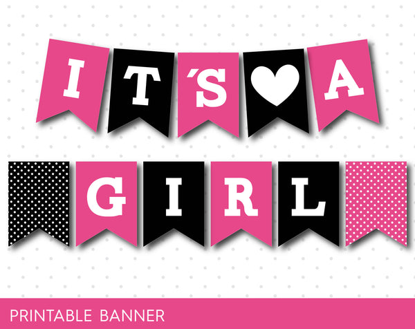 Hot pink and black printable baby shower banner banner, PB-363