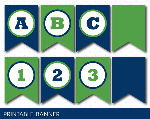Navy blue and green banner, Green birthday banner, PB-37