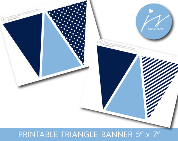 Navy blue pennant banners with polka dots and stripes, PB-390