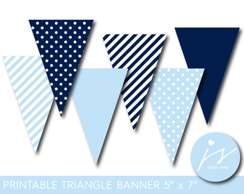 Baby blue and navy blue pennant banner with polka dots and stripes, PB-392