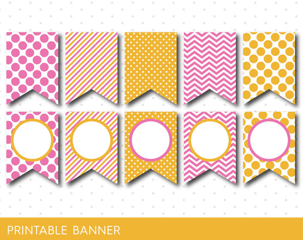 Yellow and pink birthday banner, Pink baby shower banner, Pink blank banner, Yellow triangle banner, PB-40