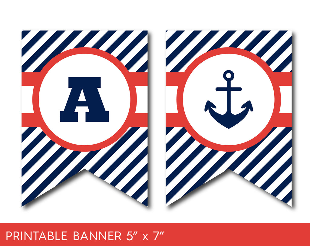 Red and navy blue nautical birthday banner with stripes, PB-400