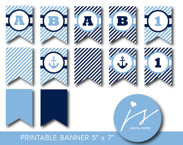 Navy blue nautical party banner with stripes, Nautical birthday banner, PB-402