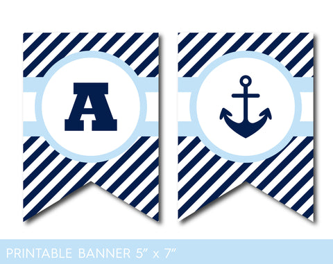 Baby blue and navy blue nautical party banner with stripes, PB-406
