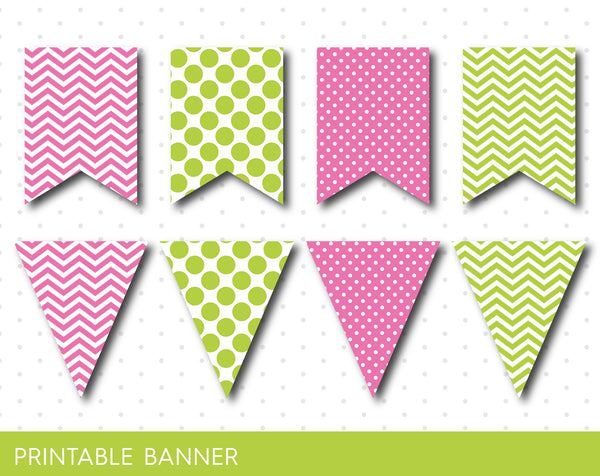 Green and pink blank printable banner, Green and pink pennant banner, PB-41