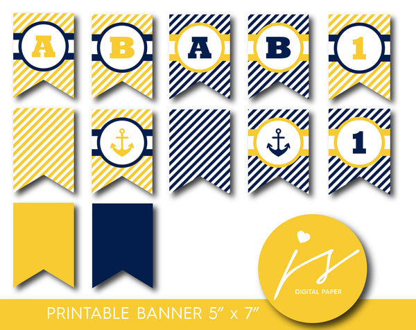 Yellow and navy blue nautical party banner with stripes, PB-415
