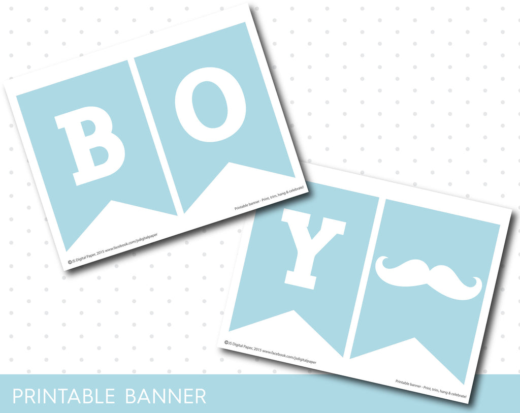 Baby Shower For A Boy Pictures ~ Baby blue little man printable banner mustache baby shower boy