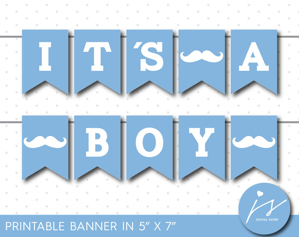 Ice blue little man printable banner, It´s a boy mustache banner, Mustache baby shower banner, PB-429