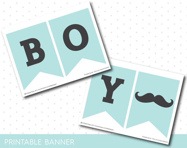 Little man banner in mint blue and grey, It´s a boy mint banner, Mint mustache baby shower banner, PB-430