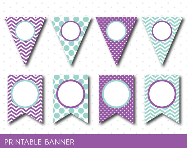 Mint party banner, Purple banner, Mint birthday banner, Purple baby shower banner, Blank banner, Mint triangle banner, Girl banner, PB-44