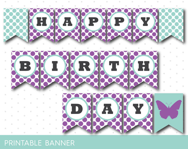 Purple butterfly party banner, Butterfly themed birthday banner, Butterfly banner, PB-45