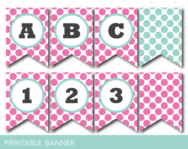 Pink butterfly party banner, Butterfly banner, Mint and pink girly banner, PB-46