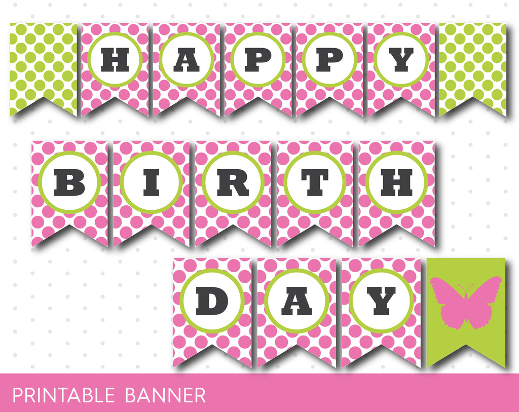 Butterfly banner in pink and green, Printable butterfly birthday banner, PB-48