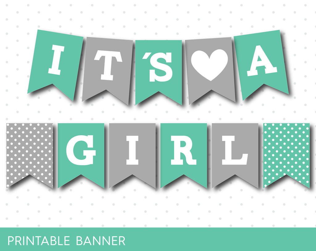 Lagoon and grey baby shower banner, It´s a boy banner, It´s a girl banner, PB-487