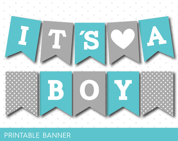 Turquoise and grey baby shower banner, It´s a boy turquoise shower banner, PB-489