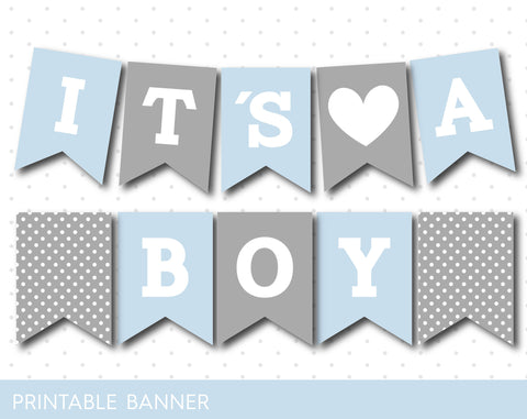 Baby blue and grey baby shower banner, PB-491