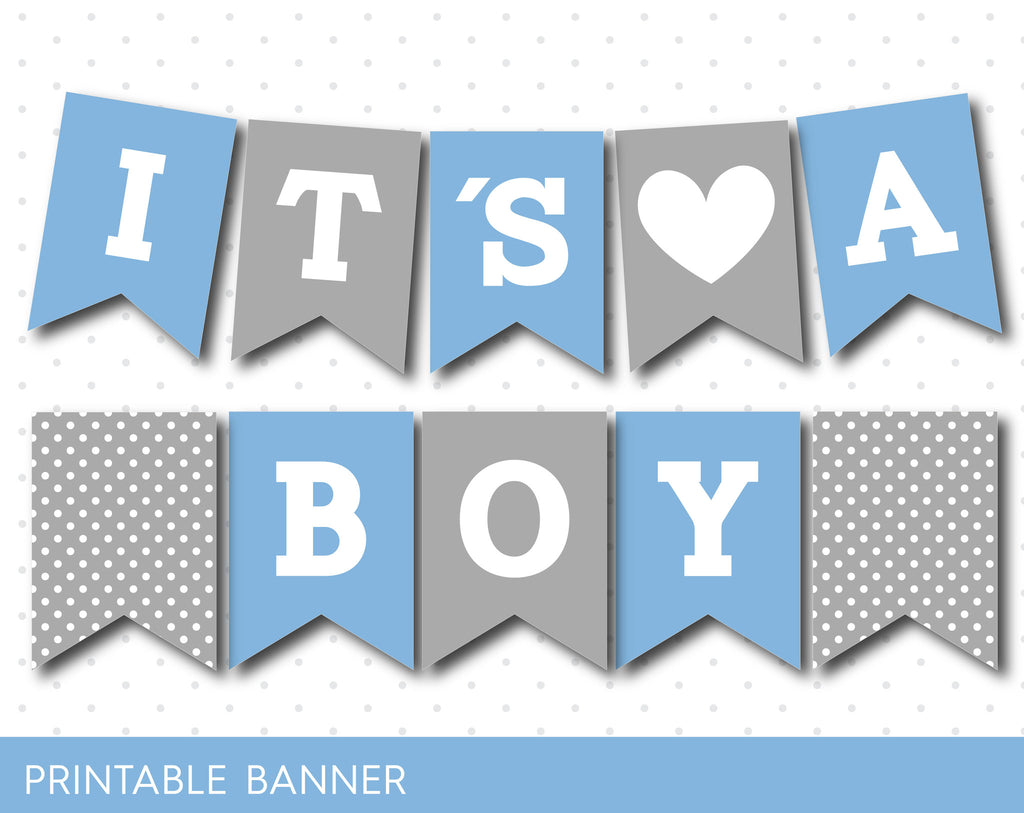 Blue and grey it´s a boy banner, Blue baby boy banner, PB-492