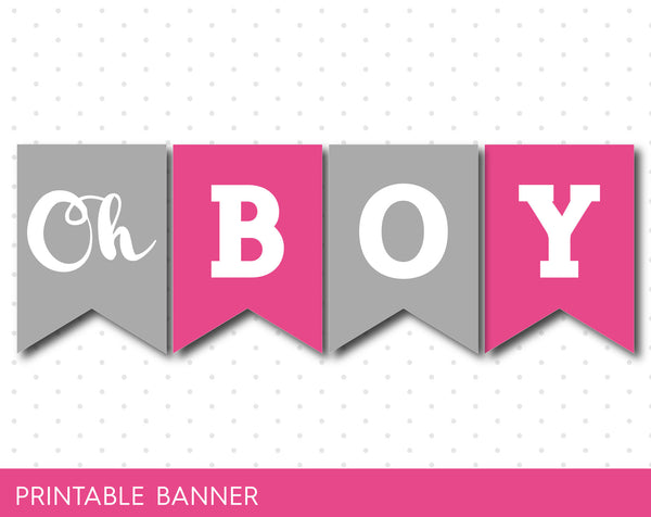 Hot pink and grey baby shower banner, It´s a girl printable banner, PB-496