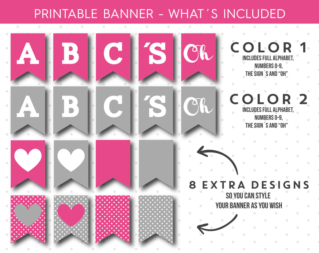 Hot pink and grey baby shower banner, It´s a girl printable banner ...