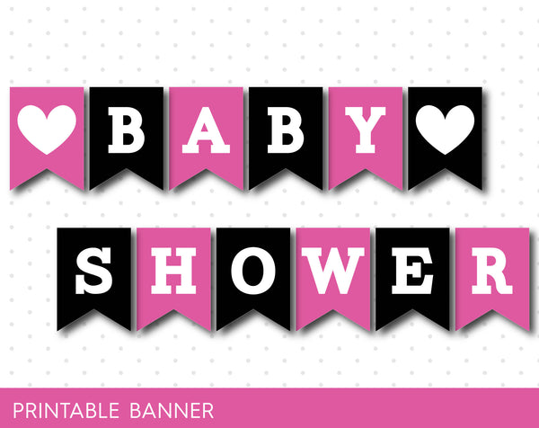 Hot pinked black baby shower printable banner, Oh baby banner, PB-50