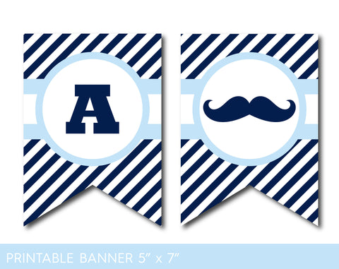 Baby blue mustache party banner with stripes, Mustache baby shower banner, PB-504