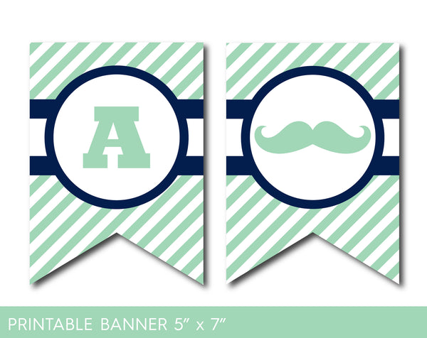 Mint green and navy blue mustache party banner with stripes, PB-506