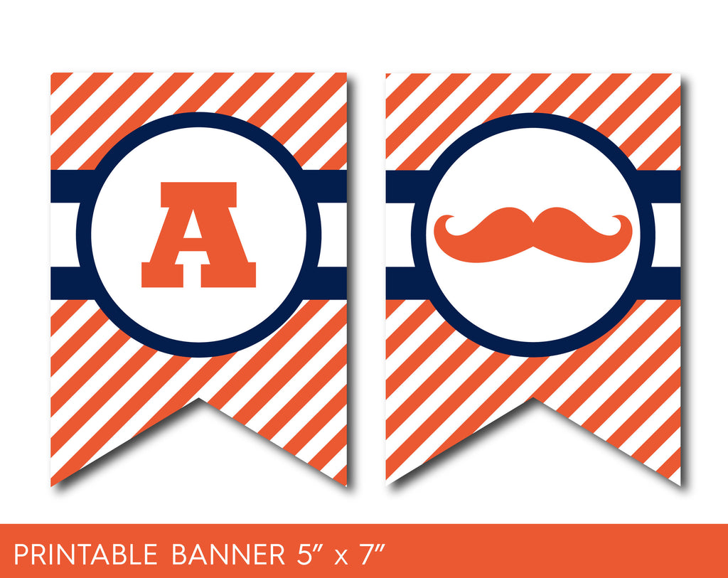 Navy blue and orange mustache party banner with stripes, PB-507