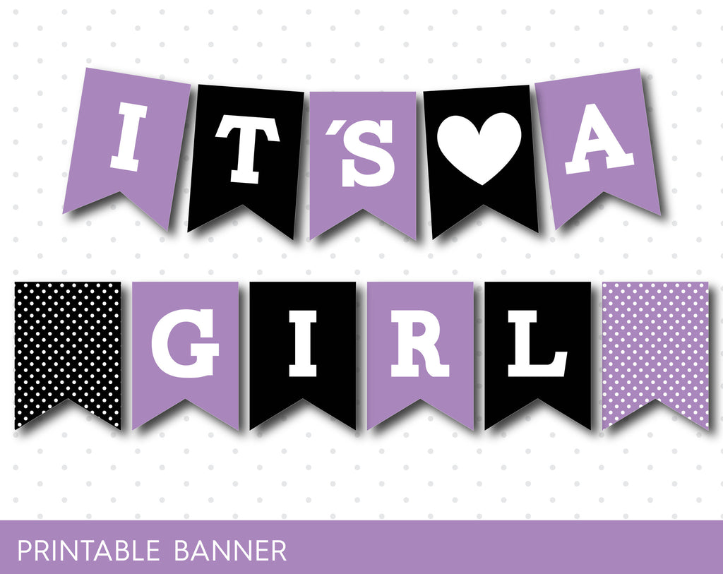 Purple and black baby shower banner, PB-51