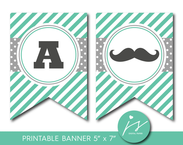 Green and grey mustache party banner with stripes and polka dots, PB-515