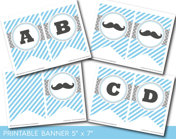 Mustache party banner with stripes and polka dots in blue and grey colors, PB-519