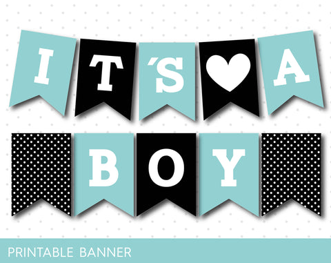 Black and mint blue baby boy banner, PB-53