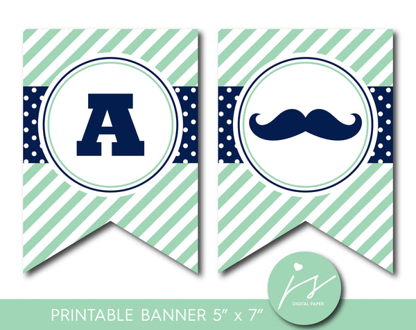 Mint green and navy blue mustache party banner with polka dots and stripes, PB-530