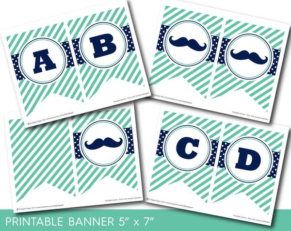 Navy and green mustache party banner with polka dots and stripes, PB-531