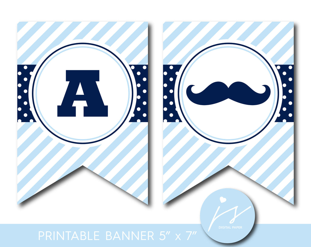 Navy blue mustache party banner with polka dots and stripes, PB-533