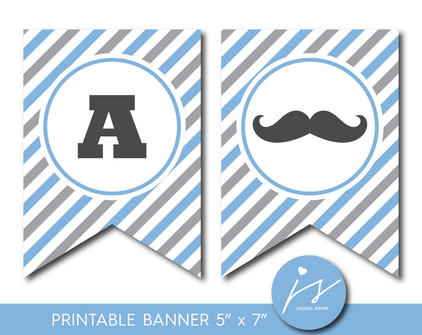 Grey and blue little man mustache baby shower banner with free its a boy toppers, PB-534