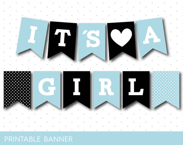 Baby shower banner in black and baby blue colors, PB-54