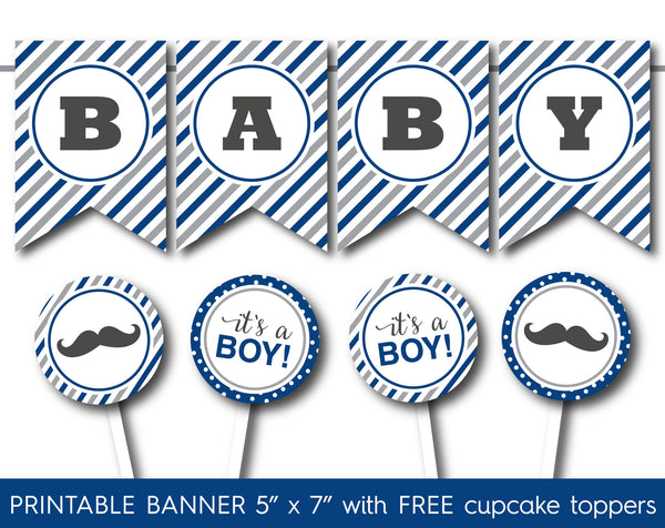 Royal blue and grey boy baby shower banner, PB-543